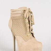 Qupid Woven Panel Lace Up Platform Ankle Bootie Color: Taupe, Size: 6.5