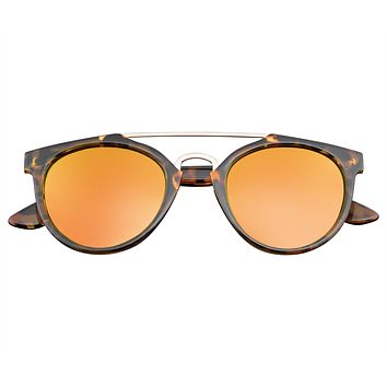 Premium Horn Rimmed Vintage Crossbar Sunglasses Flash Mirror Lens