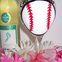 Personalized Hand Painted Wine Glass Baseball Girls Perfect Birthday or Bridesmaid Gift