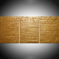 "ARTFINDER: - Solid Gold - triptych 3 panel large wall decor art acrylic three part impasto effect 3 panel on canvas wall abstract 54 x 24 "" by Stuart Wright - "" Solid Gold "" extra large triptych 3 piece imp..."