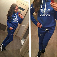 Adidas Woman Men Long Sleeve Shirt Top Tee Pants Trousers Set Two-Piece Sportswear