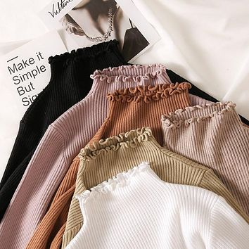 Turtleneck Ruched Women Sweater High Elastic Solid 2021 Fall Winter Fashion Sweater Women Slim Sexy Knitted Pullovers Pink White