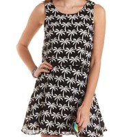 Black/White Layered Palm Tree Print Skater Dress by Charlotte Russe