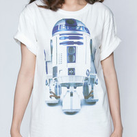R2-D2 Tshirt R2D2 Star Wars Movie Robot Android T-Shirt Short Sleeve Tee White Women Shirts Unisex Size S M L XL