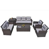"""Brown 6-Piece Patio Conversation Set with Cushions and Storage Boxs 118'.56"""" X 31'.59"""" X 14'.82"""""""