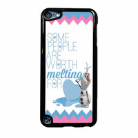 Olaf Quote Melting The Disney Frozen Pink Blue Chevron iPod Touch 5th Generation Case