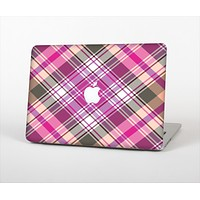 """The Gray & Bright Pink Plaid Layered Pattern V5 Skin Set for the Apple MacBook Pro 13"""" with Retina Display"""