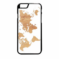 World Map On Wood Texture Print White iPhone 6 Plus Case