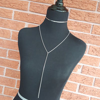 T-shirt Chain Lariat - Stainless Steel Necklace