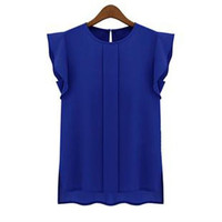 Solid Color Butterfly Sleeve Chiffon Blouse