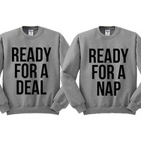 Grey Crewneck Best Friend Ready For A Deal For A Nap Black Friday Sweatshirt Sweater Jumper Pullover
