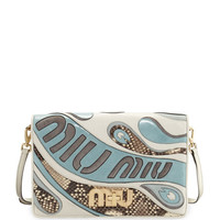 Miu Miu Mixed Leather/Python Clutch Bag