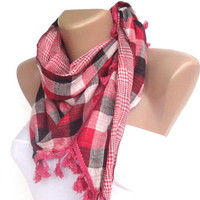 plaid fashion accessories, pink gray women scarf , spring summer scarves, headband ,headwrap , cowl scarf