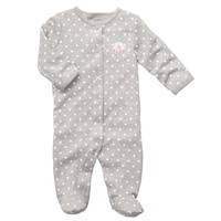 Carter's Girls Embroidered Polka Dot Ballet Sleep N Play with Applique