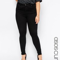 ASOS CURVE High Waisted Sculpt Me Jeans in Black