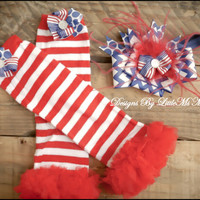 """4th Of July Headband and Leg Warmers Set  """"Fourth N' Fancy"""", Accessories for baby Girls and Girls  Childrens Clothes"""