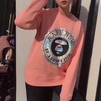 AAPE Women Fashion Round Neck Top Sweater Pullover