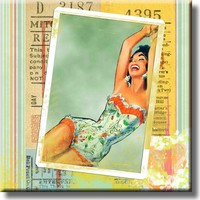 Retro Vintage Pin Up Woman Picture on Stretched Canvas, Wall Art Décor, Ready to Hang