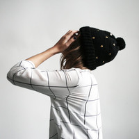 handmade cute black color hat with golden heart  shaped studs and pom pom from 100% wool
