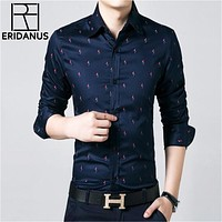 Long Sleeve Men Shirt Cotton Casual Mens Business Social Shirts Slim Fit Fashion Printed Design Business Shirts