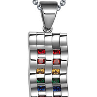 Jewelry Stainless Steel Gay  LGBT Pride Rainbow Pendant Wave Flag Necklace,Silver,39mm