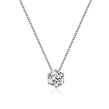 925 Sterling Silver Diamond Solitaire Necklace, Cubic Zirconia Diamond Necklace, Floating Diamond Solitaire Necklace