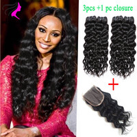 Online Shop 3 bundles brazilian natural wave virgin hair with closure 7a unprocessed virgin hair 100% human hair weave with closure | Aliexpress Mobile