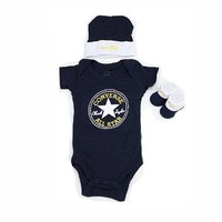 Converse Baby Booties, Beanie and One Piece Set for Boys and Girls (0-6 Months) Navy, 0 - 6 Months