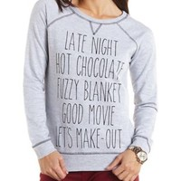 Love to Cuddle Graphic Crew Sweatshirt - Heather Gray