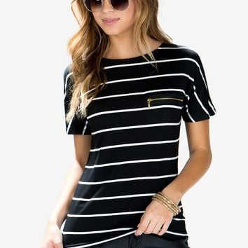In A Zip Striped Tee