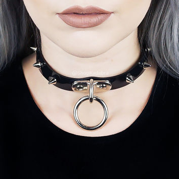 HELLBOUND Choker - Hanging O Ring Choker with Spikes