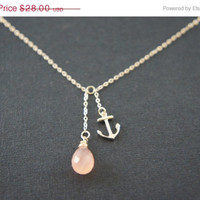 10% OFF Cotton candy pink chalcedony and sterling silver anchor necklace, wedding, bridesmaid, beach, tropical, gift