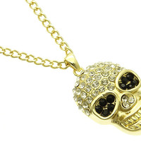 NECKLACE / SKULL / LINK / METAL / CRYSTAL STONE PAVED / 2 1/4 INCH DROP / 27 INCH LONG / NICKEL AND LEAD COMPLIANT / HALLOWEEN