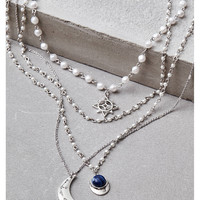 AEO Silver Pearl Long Layering Necklace, Silver