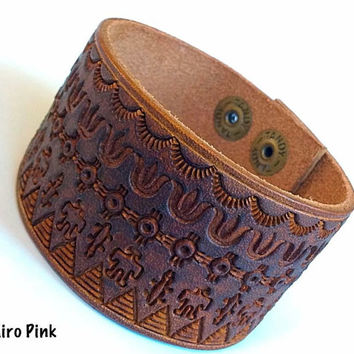 Leather Cuff Bracelet Hand Stamped Native American Indian Designs