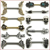 Nipple Accessories  Skull, Anchor, Wing, Hand