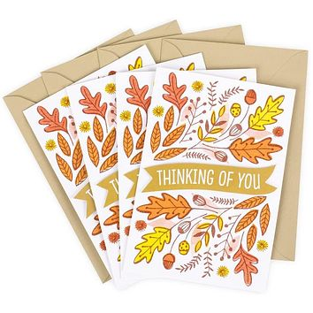 Happy Thanksgiving Greetings Card for Friends and Family With Envelope (Thinking of You)