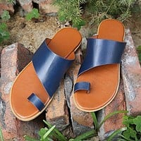 Summer new style female fashion outer wear metal color casual set toe flat-bottomed large size slippers shoes