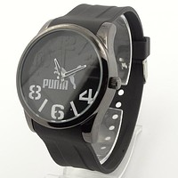 Puma Simple Silicone Belt Popular Ladies Men Watch Wrist Watch Black I-SBHY-WSL