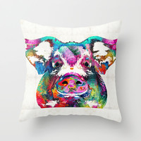Colorful Pig Art - Squeal Appeal - By Sharon Cummings Throw Pillow by Sharon Cummings