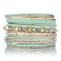 Ebba's Fashion Stackable Bangle Bracelet Set - Gold and Mint Green