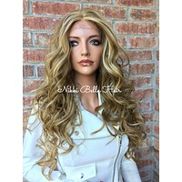 """Lightest blonde highlights loose waves Human Hair Blend Multi Parting lace front hair wig 24"""""""