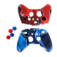 2pcs Camo Protective Soft Silicone Case Cover + 2pairs Joystick Thumbstick Caps for Microsoft Xbox One Game Accessories