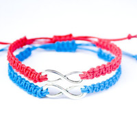 Infinity Couples or Friendship Bracelets Red and Blue