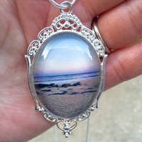 Beach Photo Jewelry, Beach Jewelry, Sunset Photo Jewelry, Beach Necklace, Filigree Necklace, Beach Lovers, Birthday Gift, Anniversary Gift