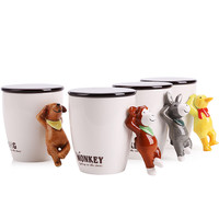 UPSTYLE Christmas Gift Ceramic Cup 3D Cute Animal Coffee Mug with Lid and Handle Water Cup for Tea, Milk and Coffee,14.8OZ, A042