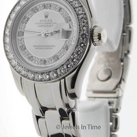 Rolex Masterpiece Automatic 18K White Gold & Diamond Ladies Watch & Box 69299