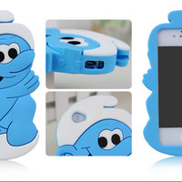 New 3D Super Cute Smurf Soft  Silicone Case Cover Outfit for iPhone 4/4S