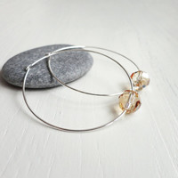 Silver hoop earrings champagne swarovski crystal single bead elegant