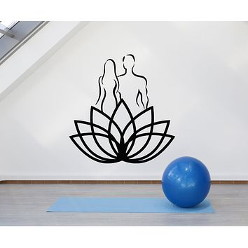 Vinyl Wall Decal Lotus Flower Yoga Man Woman Fitness Spa Center Stickers Mural (g1255)